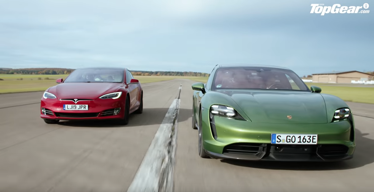 BBC Top Gear Tesla Model S vs Porsche Taycan Turbo S