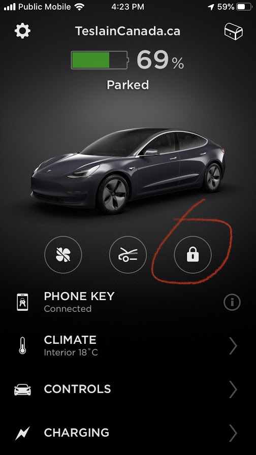 Tesla app locked