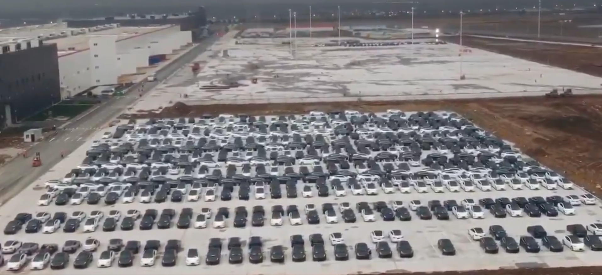 Gigafactory Shanghai Model 3 parking lot