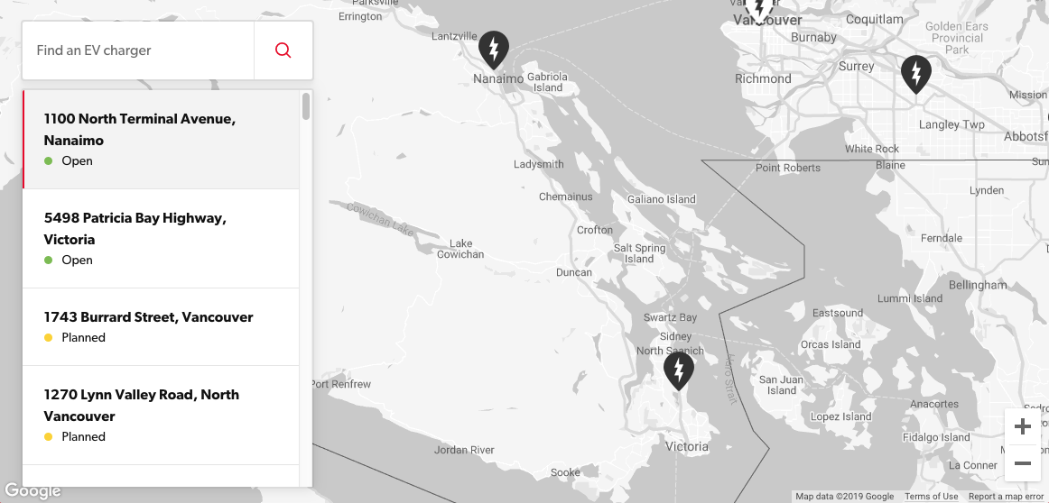 Petro Canada charger map Vancouver Island