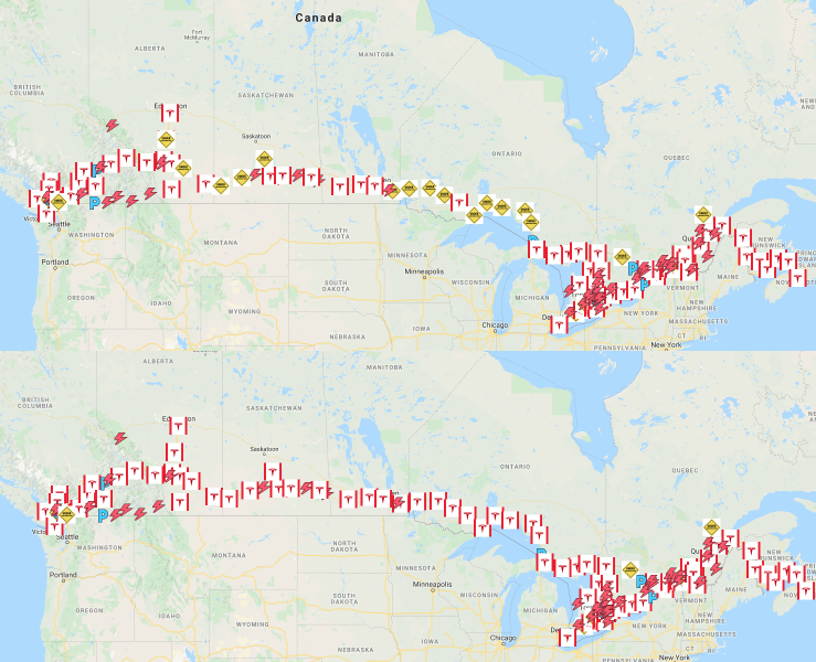 Tesla Canada Supercharger map