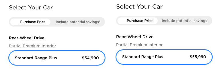 Tesla Standard Range Plus price increase