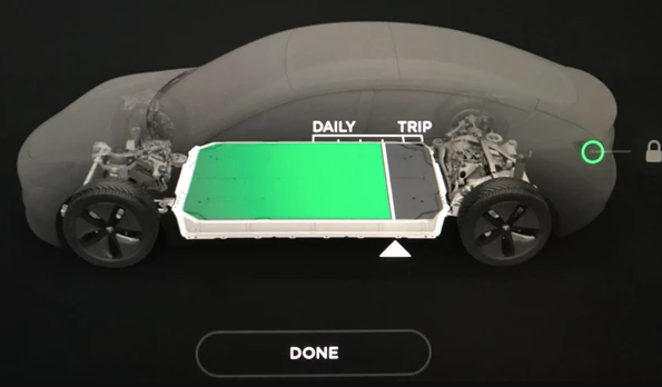 Tesla battery charging screen