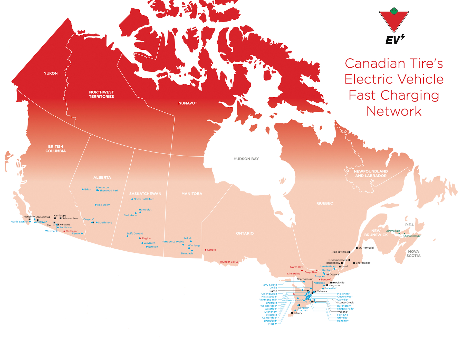 Canadian Tire EV network map