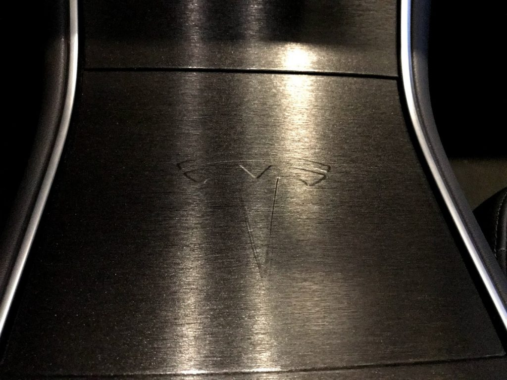 Center Console Tesla Model 3 emboss logo