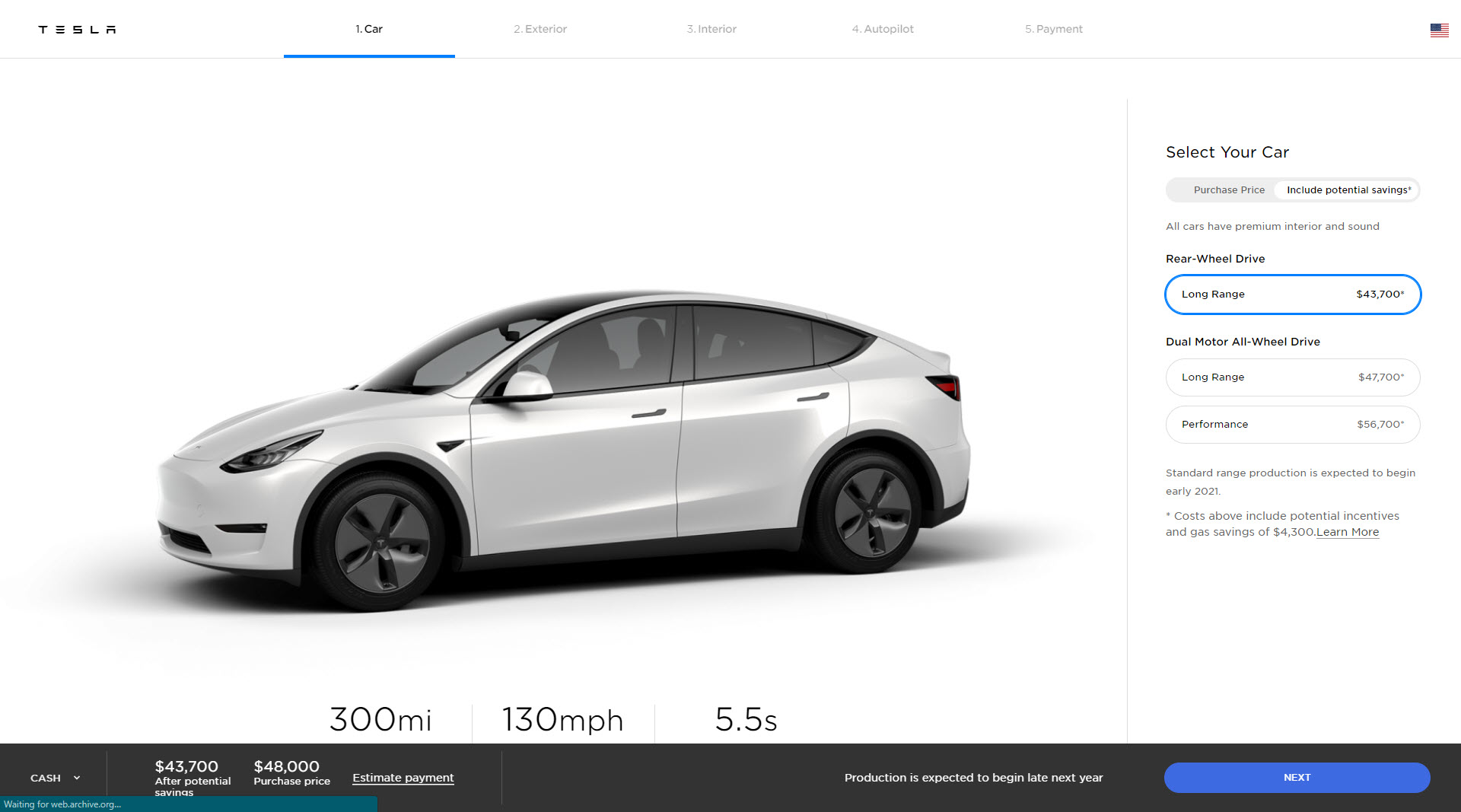 Model Y deliveries US pre update