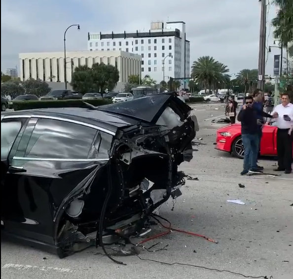 Tesla Model X crash split in half