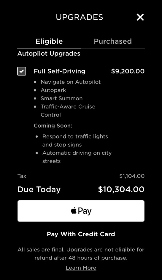 Tesla app upgrades