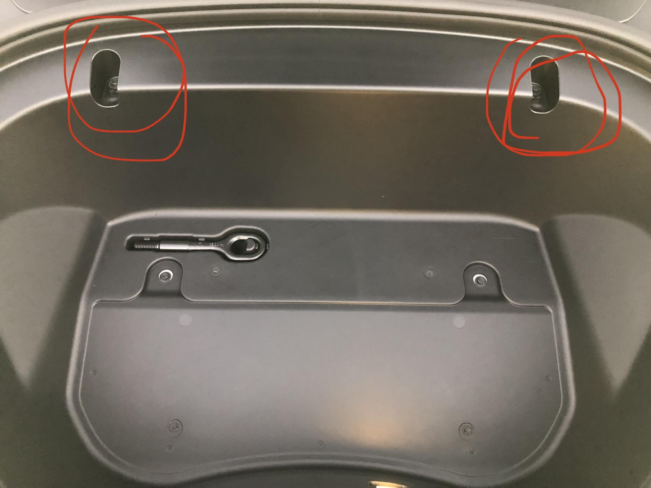 Model 3 frunk hooks missing