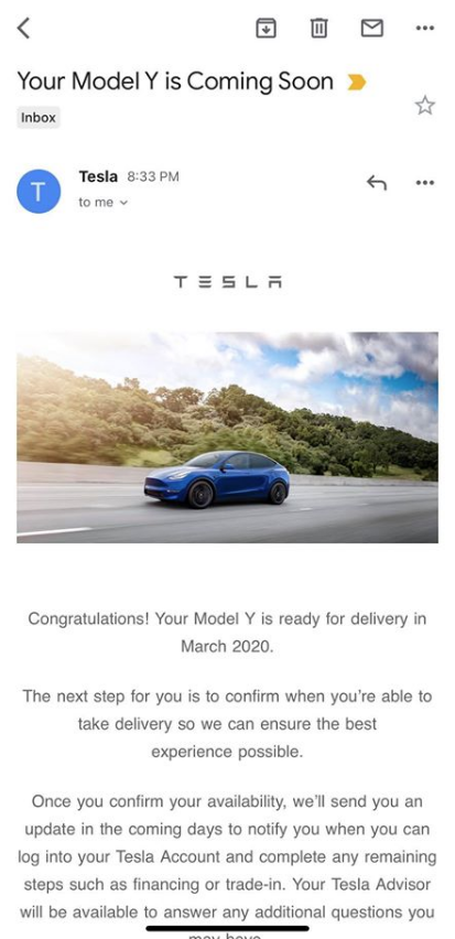Model Y delivery email