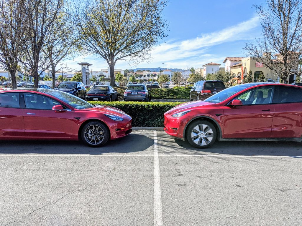 Red Model 3 and Model Y California