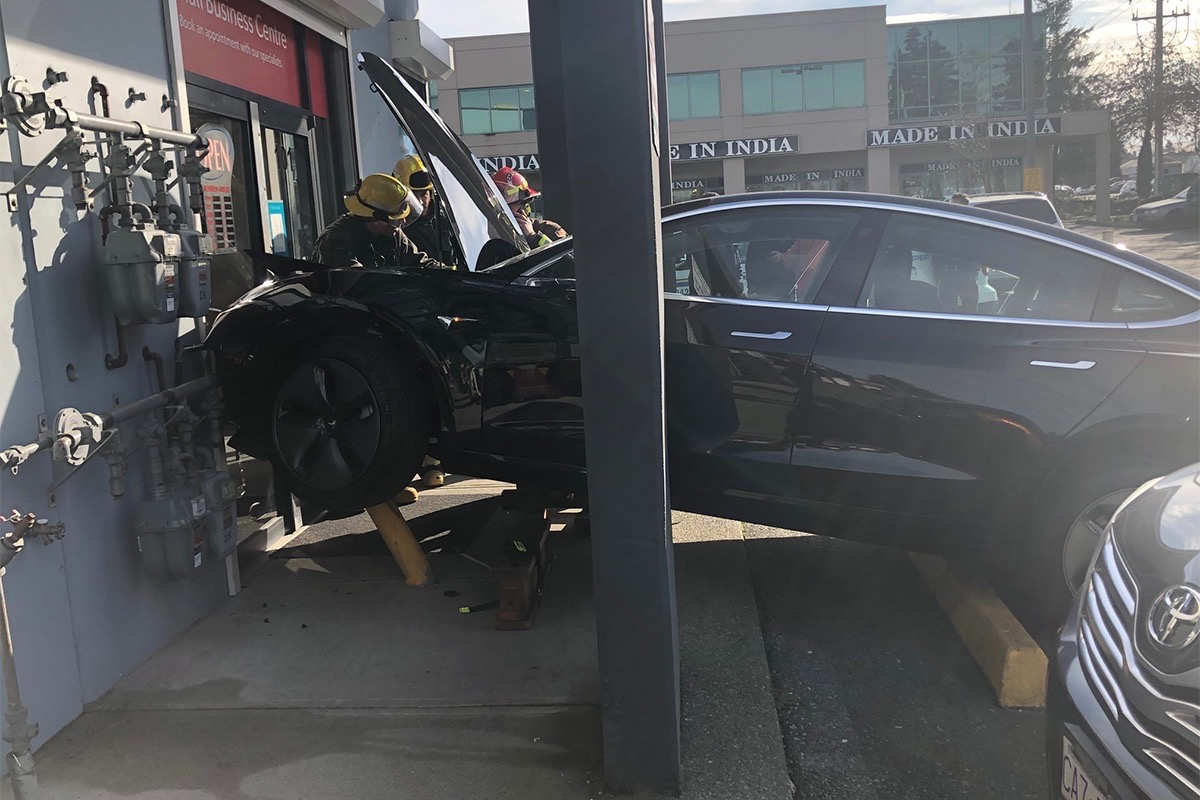 Tesla Model 3 crash Surrey BC