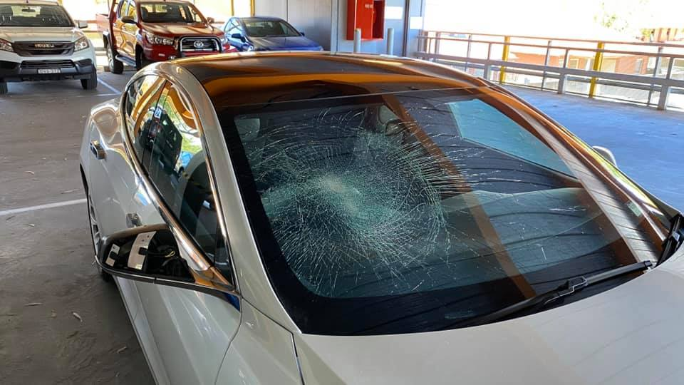 Tesla Sentry Mode smashed windshield in Albury Australia