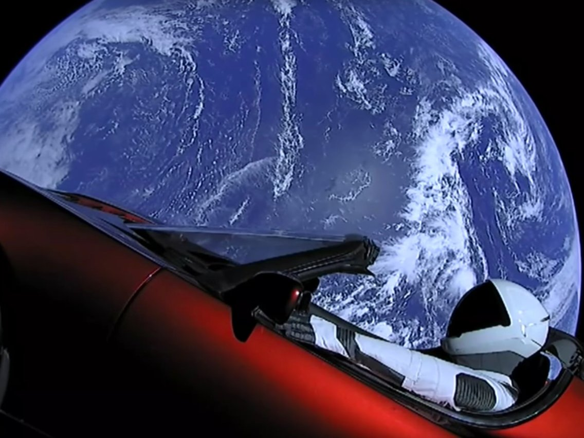 Tesla Starman and Earth