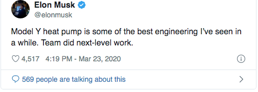Elon Musk tweet heat pump Model Y