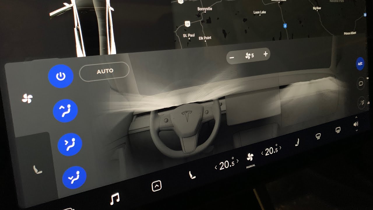 Tesla Model 3 dual zone climate control