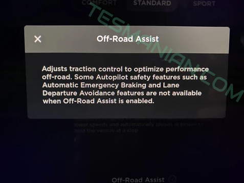 Tesla Model Y Off-Road Assist