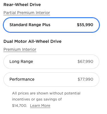 Tesla Model 3 prices in Canada after price increase
