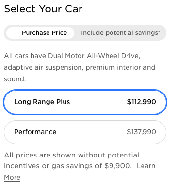 Tesla Model S after price increase Canada