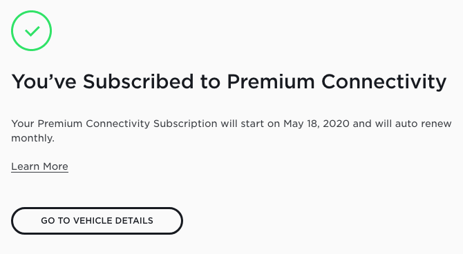 Tesla Premium Connectivity subscription 2