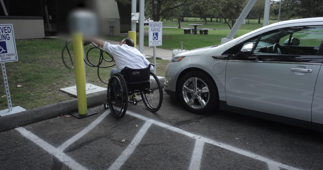 Wheelchair EV charging station