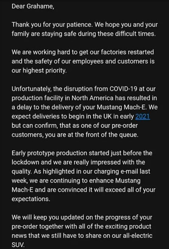 Ford Mach E delay email