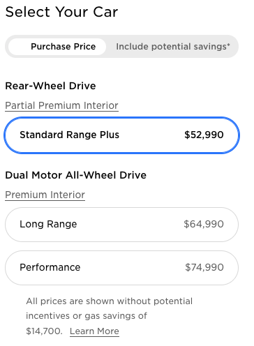Tesla Model 3 price changes in Canada