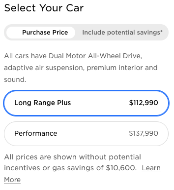 Tesla Model X price changes Canada