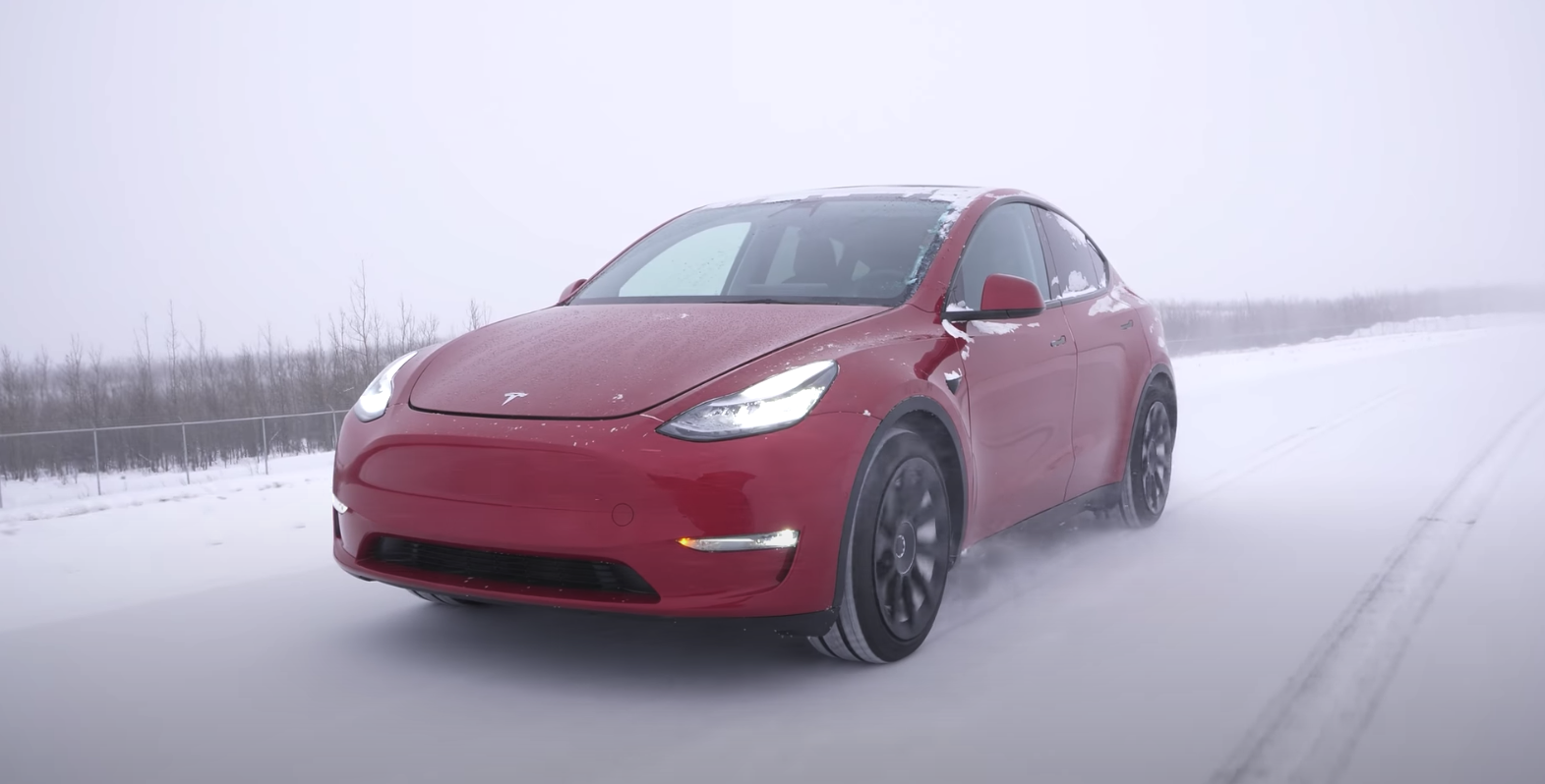 Tesla Model Y winter driving
