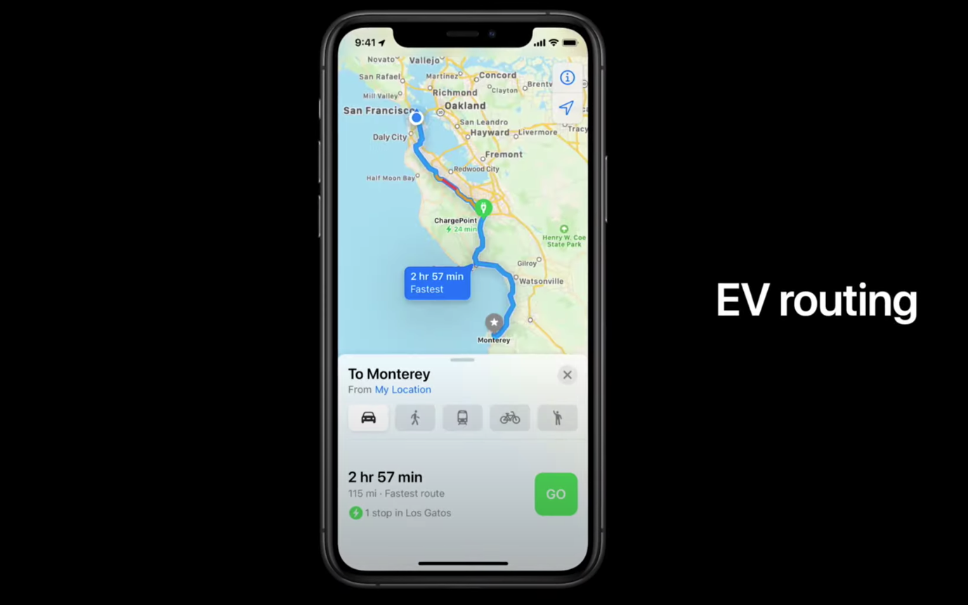 Apple Maps EV Routing phone