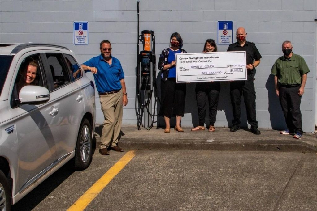 Comox Firefighers Assoc EV charger donation
