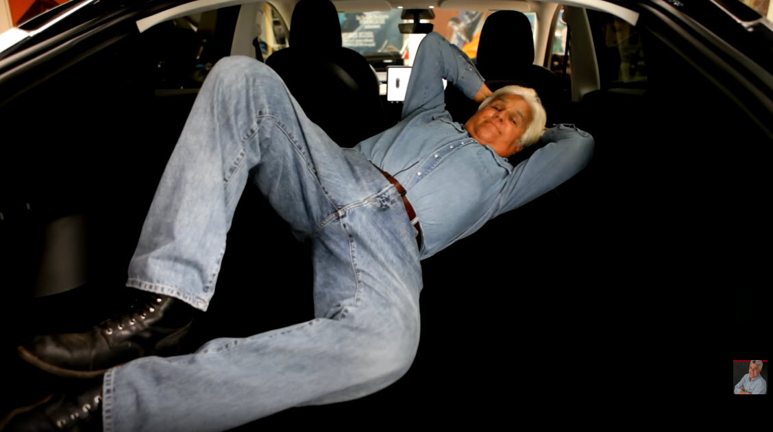 Leno in rear cargo area Tesla Model Y
