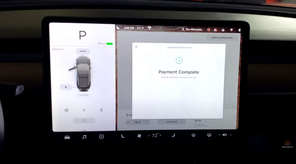 Supercharger payment screen