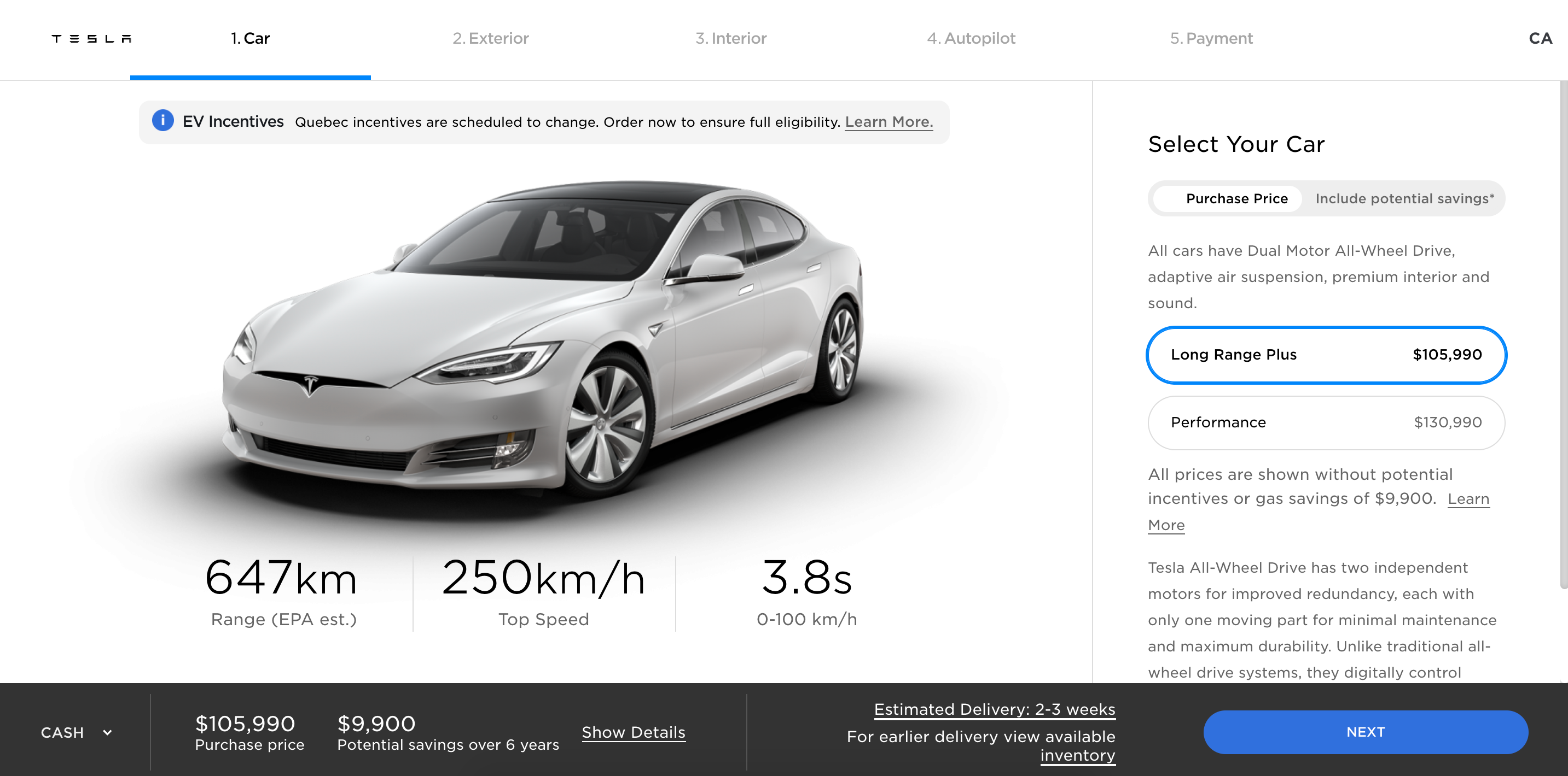 Tesla Model S LR Plus with new range