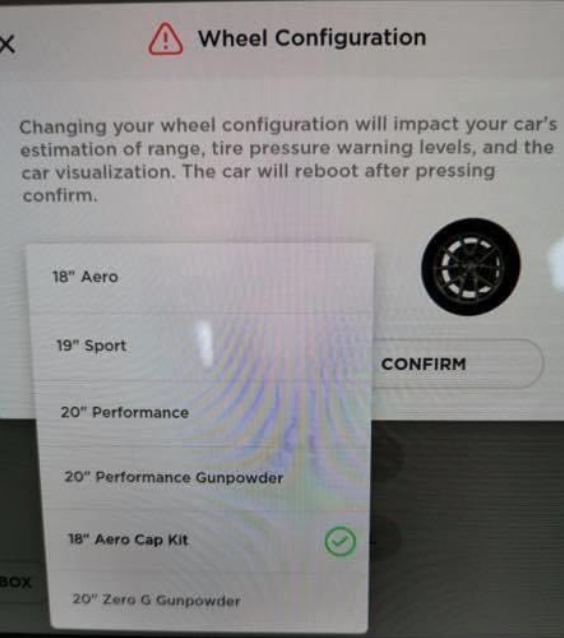 Tesla wheel configuration menu