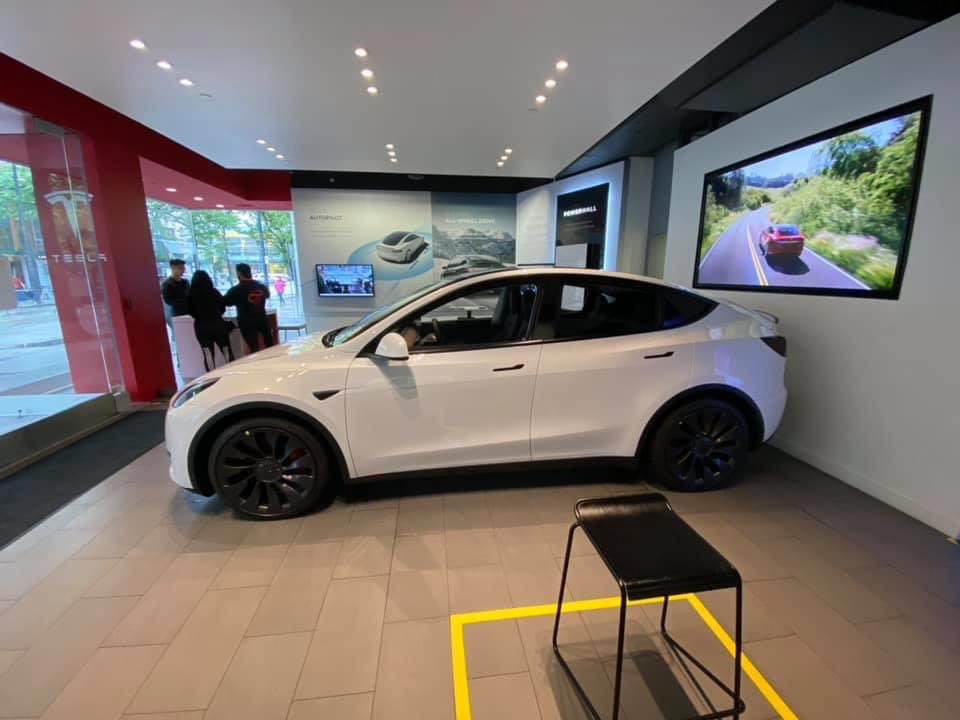 White Tesla Model Y West 4th Vancouver
