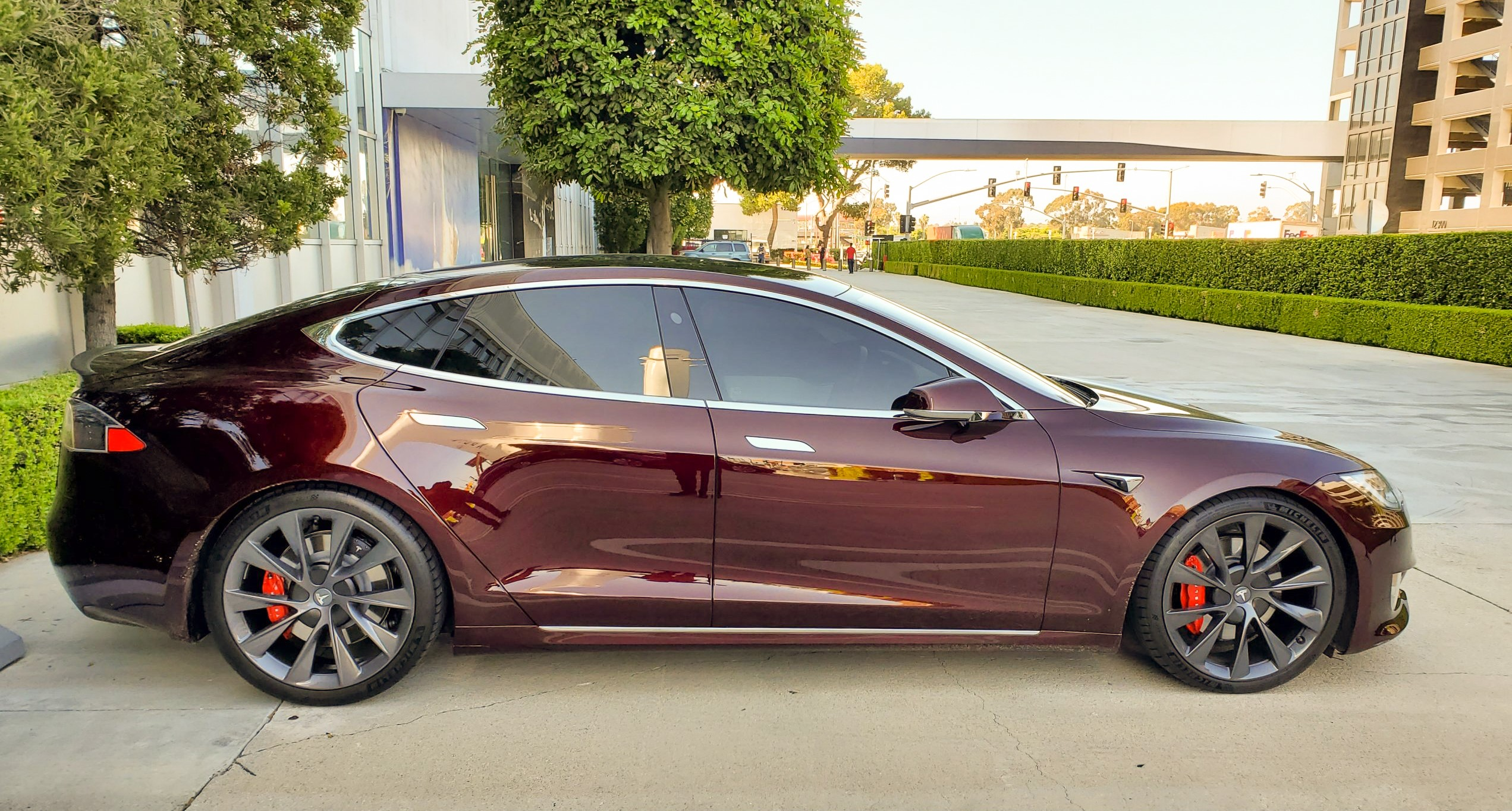 Crimson Red Tesla colour corrected