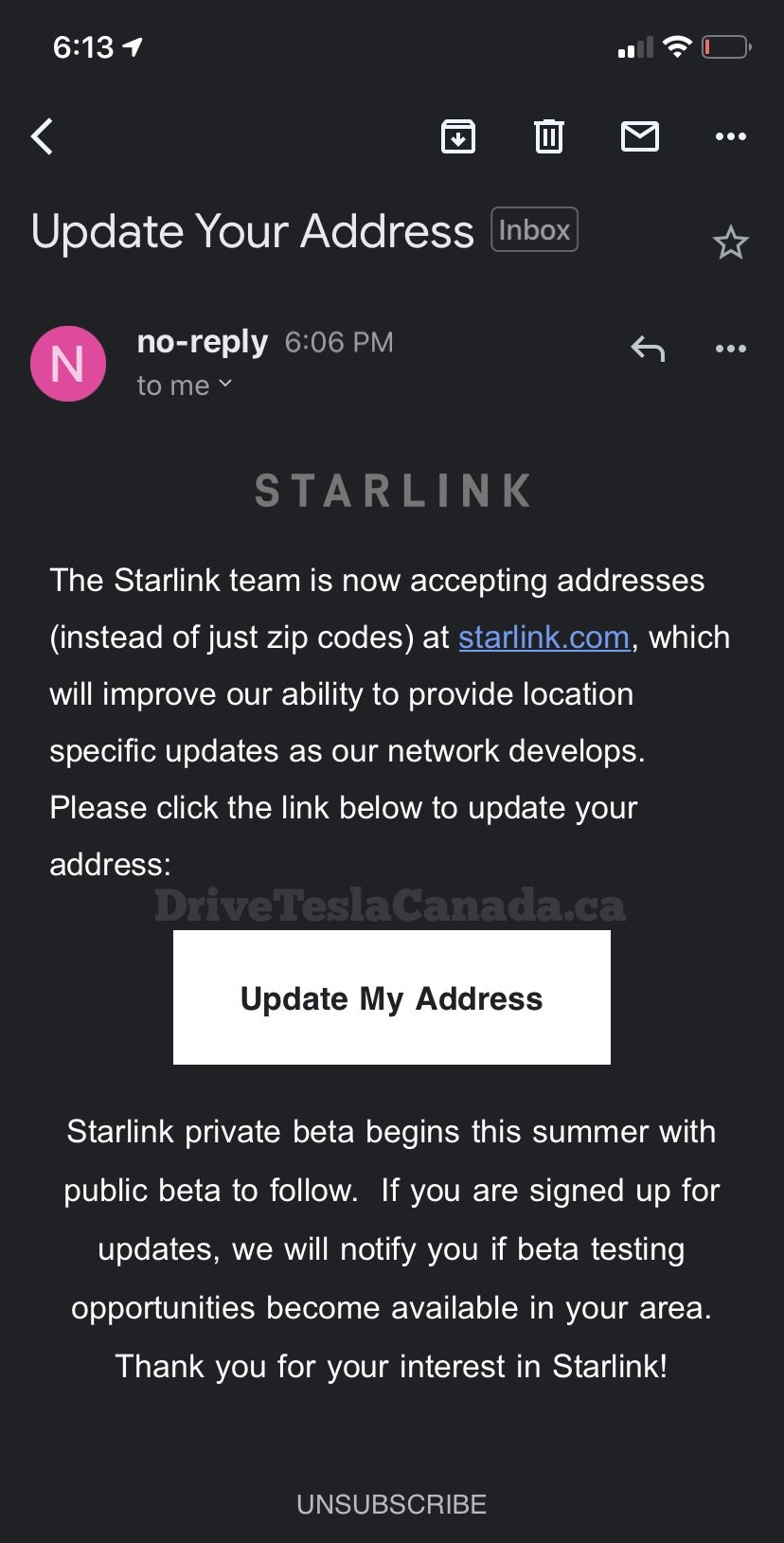 Starlink service address email