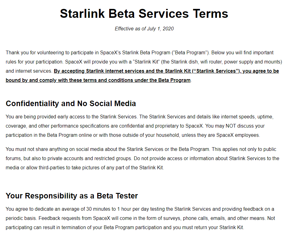 Starlink terms of service