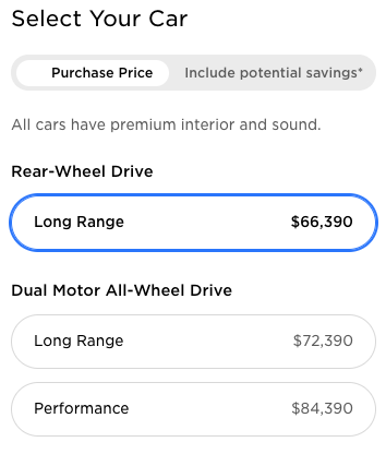 Tesla MOdel Y prices with RWD
