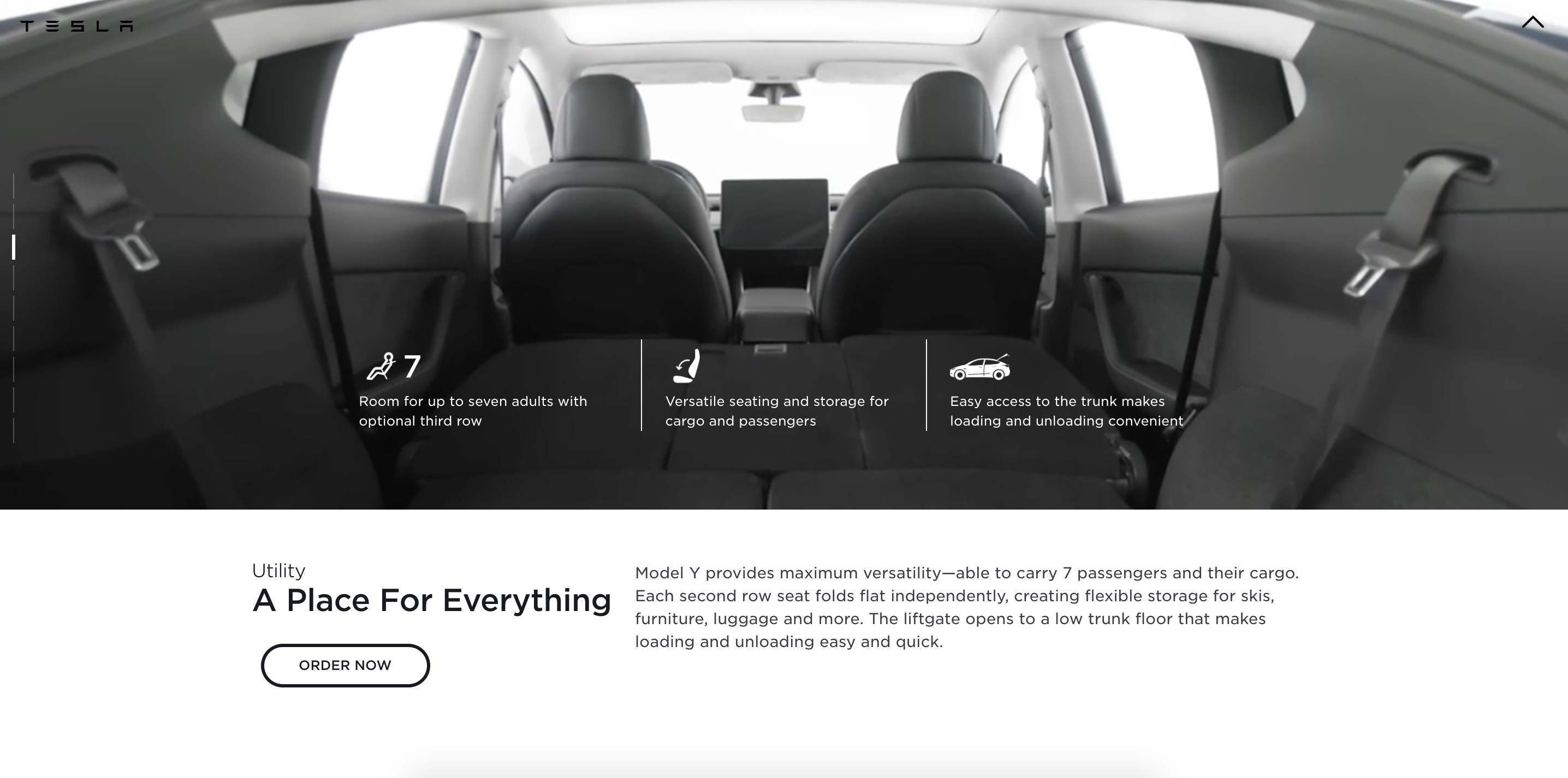 Tesla Model Y product page after showing third row