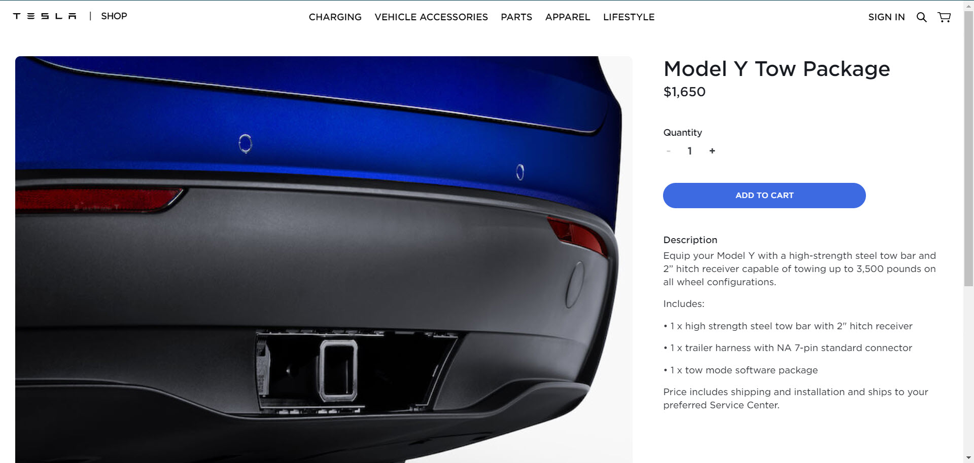 Tesla updated tow package