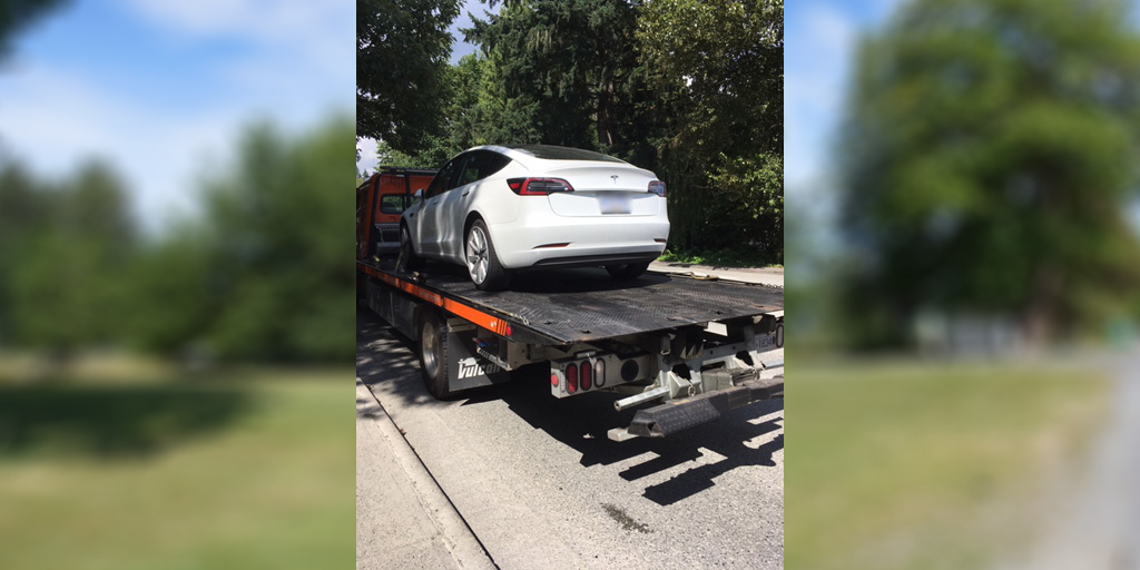 Coquitlam Tesla towed