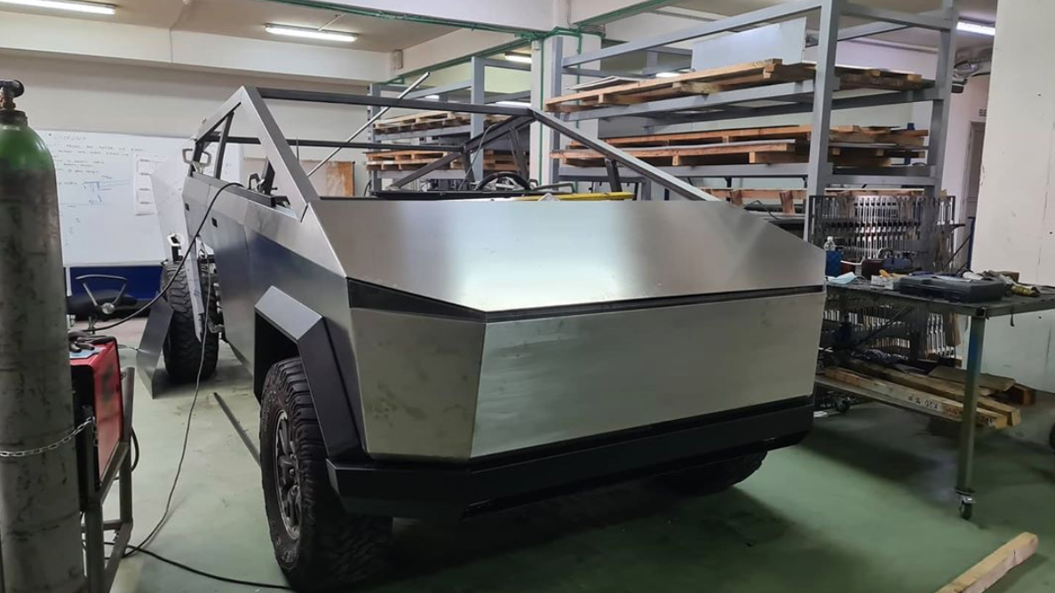 Cybertruck replica under construction