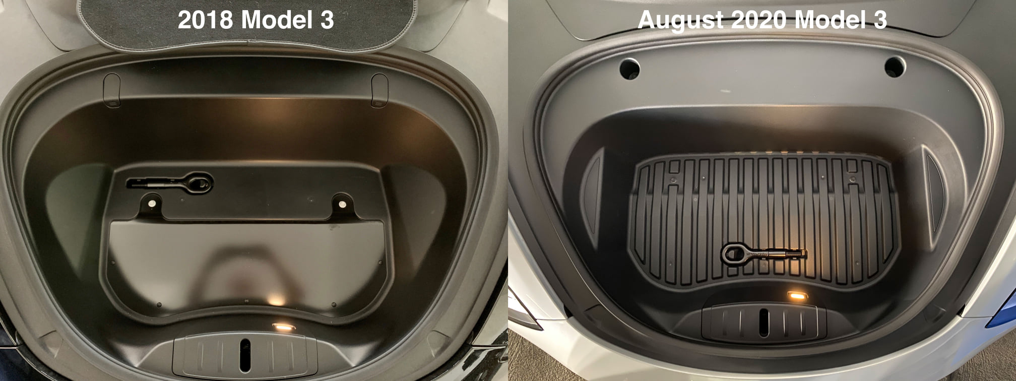 Old vs new Model 3 frunk