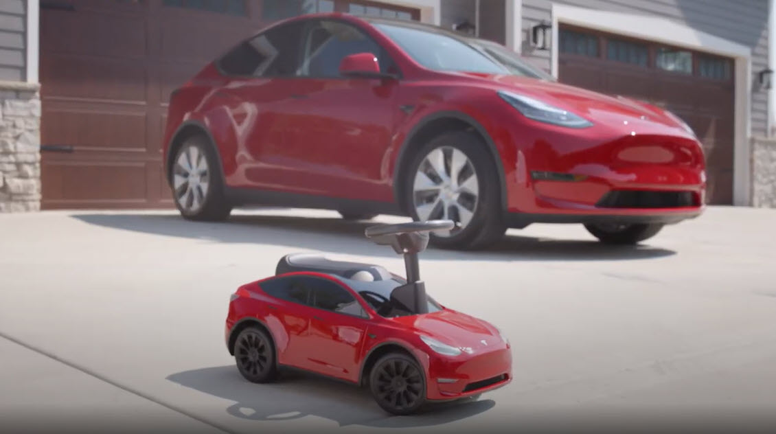 Radio Flyer Tesla Model Y with real Model Y