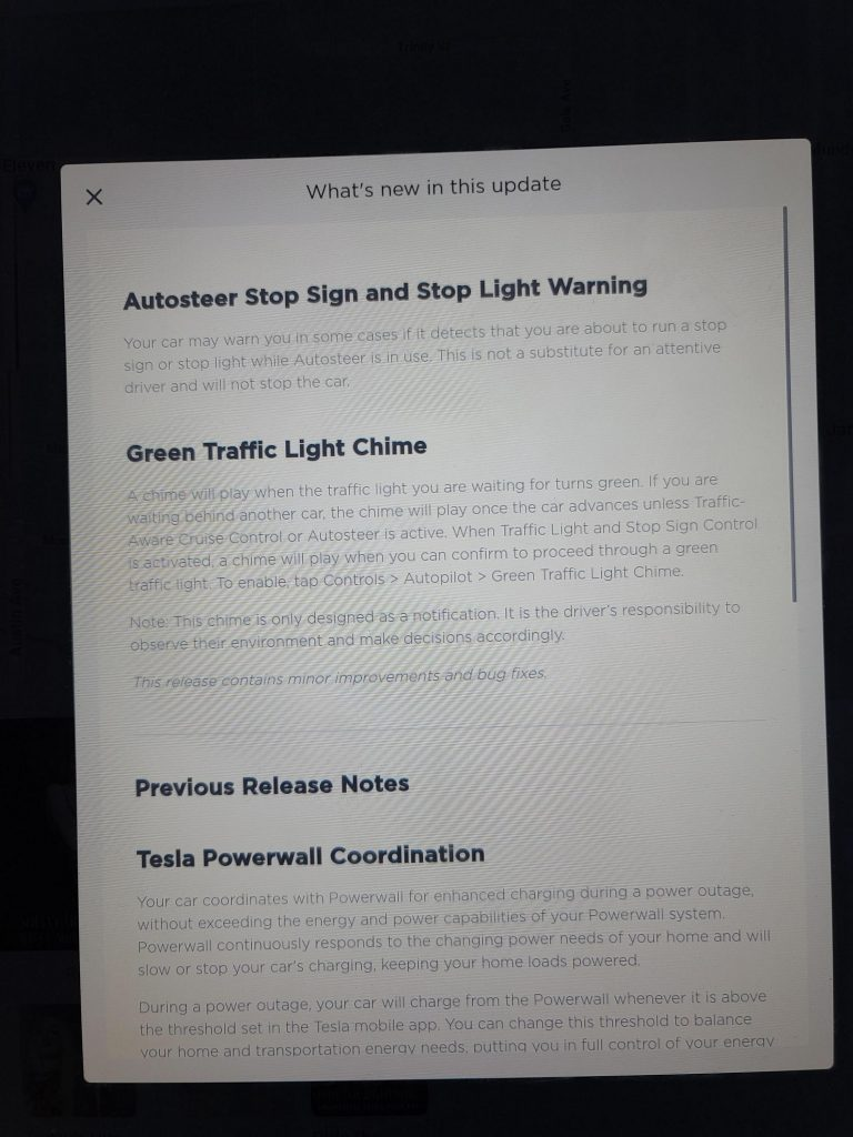 Tesla 2020.36 release notes Model S X