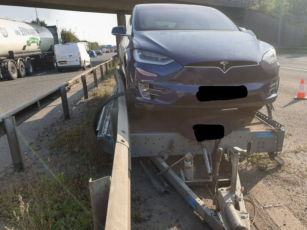 Tesla Model X on trailer