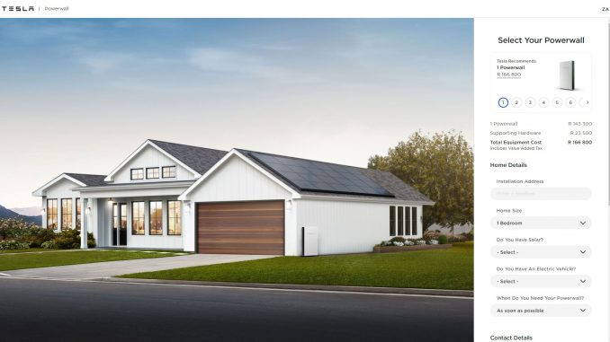 Tesla Powerwall South Africa page