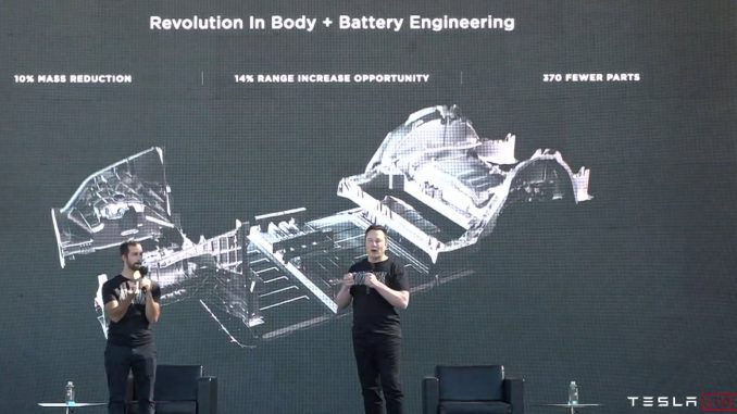 Tesla single piece casting and integrated battery